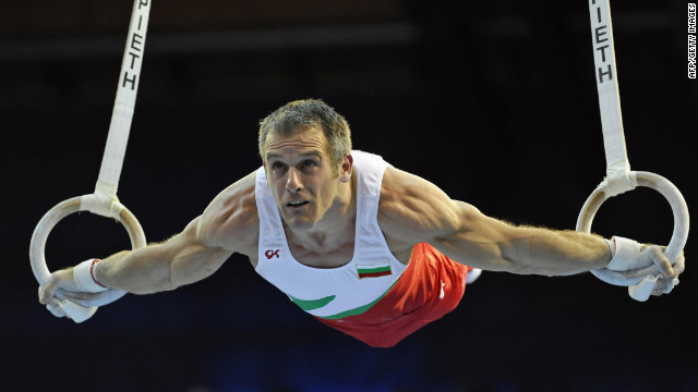 Bulgaria's &quot;Silver Fox,&quot; Jordan Jovtchev, 39 (seen here in the 2008 European Men's Artistic Gymnastics Championships), specializes in rings and has competed in six Olympic games.