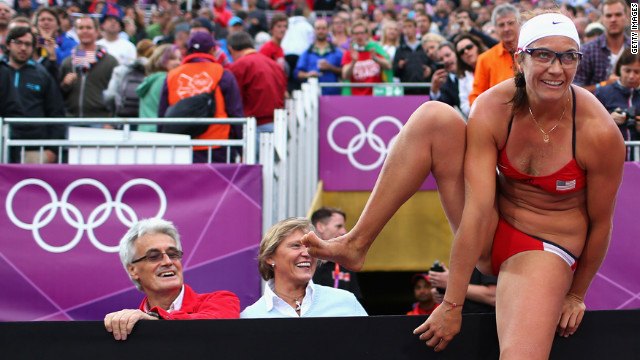 Misty May-Treanor of the United States celebrates after the women's beach volleyball semifinal match between United States and China.