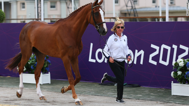 Karen O'Connor, 54, of the United States' equestrian team, rode her horse Mr. Medicott in the cross-country Olympic competition. She is the oldest member of U.S. Olympic contingent to compete in London.