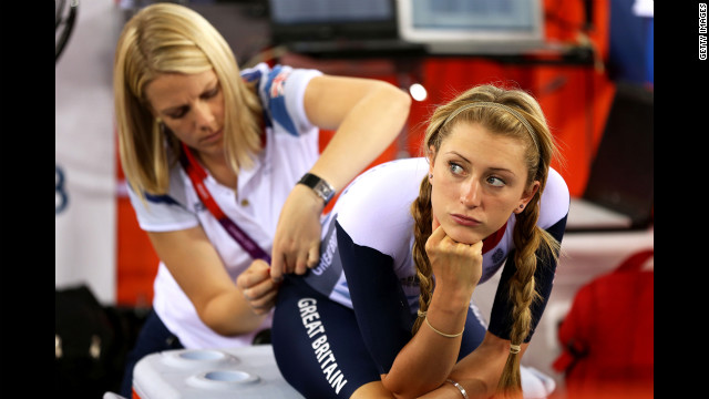 Great Britain's Laura Trott is still miffed about the &quot;Kick Me!&quot; sign.