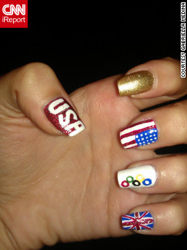 "Gabriela Medina even <a href='http://ireport.cnn.com/docs/DOC-825971'>painted her toes to match</a>! ""I love supporting and cheering on my team,"" said the Wesley Chapel, Florida, resident. Medina likes to create nail art for various holidays, and says, ""you have to have a steady hand."" Appropriately, the college student aspires to be a surgeon."