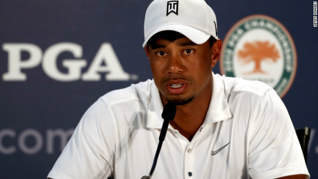 Tiger Woods talks to reporters after a practice round ahead of the 94th PGA Championship at the Ocean Course.
