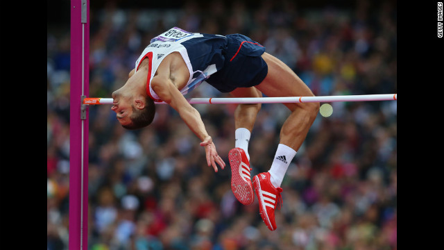 Robert Grabarz of Great Britain competes in the men's high jump final.