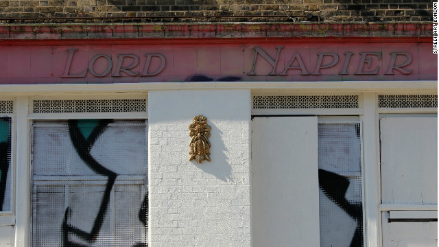 A glittering street sculpture from Cityzen Kane on the derelict Lord Napier pub in Hackney Wick. Many local street artists and graffiti writers had put work up here over the years but it was whitewashed ahead of the Olympics.