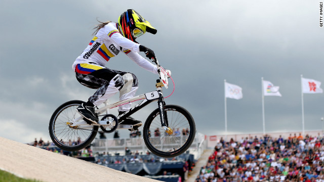 Mariana Pajon of Colombia competes in the seeding run at the BMX track.