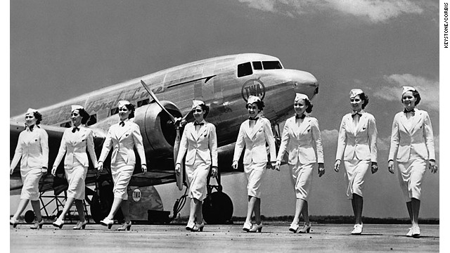 Transworld Airline flight attendants pose in the early years of passenger aviation. 