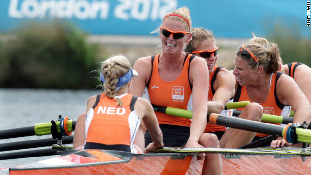 Annemiek de Haan of the Netherlands cries after her crew finished third in the women's eight rowing competition.