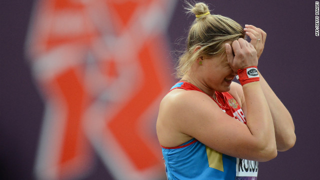 It's unclear whether Russia's Evgeniia Kolodko sheds tears of joy or sorrow after winning bronze in the women's shot put final.