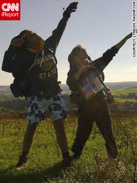 "British student Lyndon Thompson decided to strike the Usain Bolt pose with his friend last Saturday. ""We had just climbed a big hill and I was like 'we need to celebrate this', so we did the pose that Bolt does when he wins,"" he told CNN."