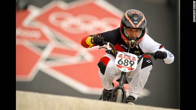 Maik Baier of Germany powers down the track during the seeding run in the BMX competition.