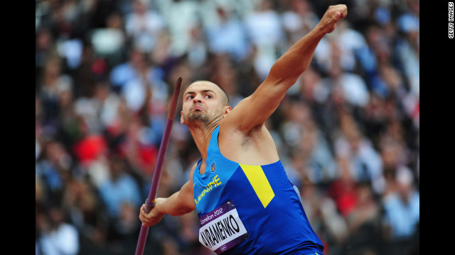 Roman Avramenko of Ukraine competes in the men's javelin throw qualifications.