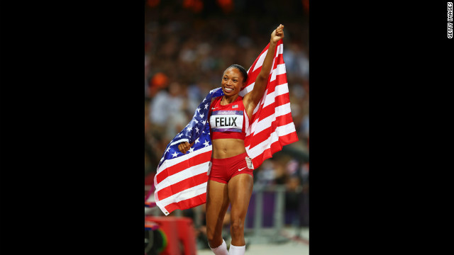Allyson Felix of the United States celebrates after winning gold in the women's 200-meter final.