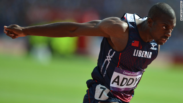 Liberia's Jangy Addy competes in the men's decathlon 100-meter heats.