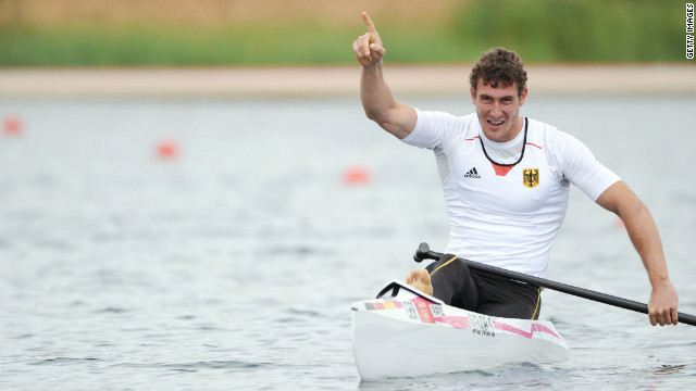 Sebastian Brendel of Germany celebrates winning gold during the men's canoe single 1,000-meter sprint finals in Windsor.