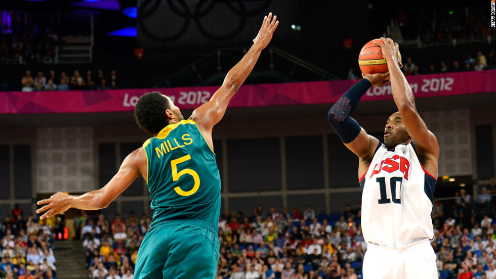 Kobe Bryant, No.10 of United States, shoots over Patrick Mills, No.5 of Australia, in the third quarter during the men's basketball quarterfinal game on Wednesday, August 8. <a href='http://www.cnn.com/2012/08/07/worldsport/gallery/olympics-day-eleven/index.html'>Check out Day 11 of competition</a> from Tuesday, August 7. The Games ran through Sunday, August 12.