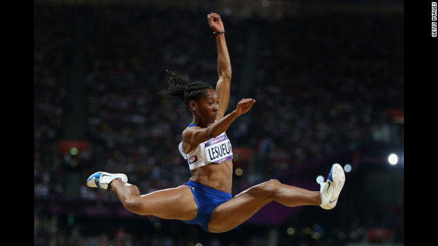 Eloyse Lesueur of France competes in the women's long jump final.