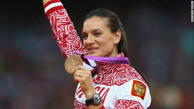 "Pole-vaulter Elena Isinbaeva of Russia said: ""Of course I will remember my bronze medal from the London Olympic Games. It was hard to win this medal, it was really hard."""