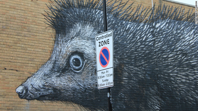 A work by street artist ROA in Chance Street, Shoreditch.