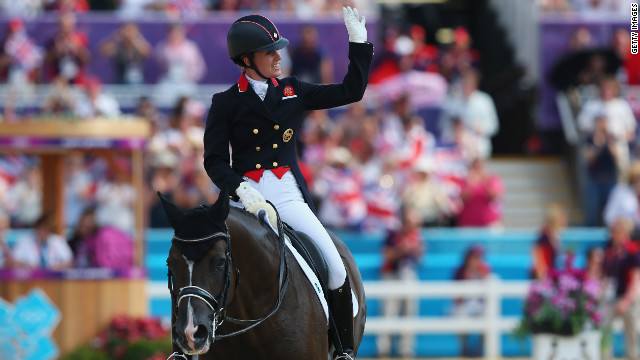 Charlotte Dujardin gave Great Britain three golds out of six on offer in equestrian events at London 2012 when she won the individual dressage on Valegro on August 9.