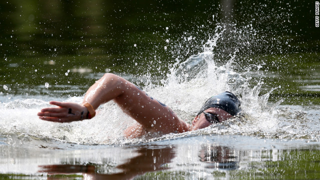 Hungarian swimmer Eva Risztov races in the women's marathon 10-kilometer swimming event.
