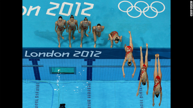 Russia performs a women's teams synchronized swimming technical routine.