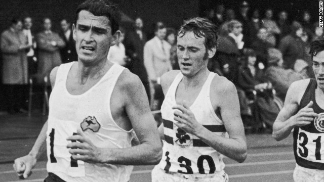 Australian runner Ron Clarke leads the 10,000m at the 1970 Commonwealth Games where he again missed out on the gold medal despite setting 17 world records. Zatopek was his inspiration and friend. 
