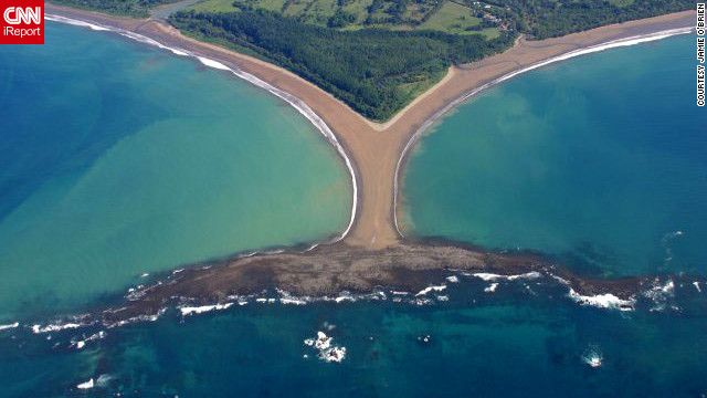 "The ""Whale Tail"" is a natural formation on the Pacific Coast of Costa Rica. ""After the earthquake/tsunami that devastated Japan, effects were felt all the way to this town of Uvita,"" writes iReporter Jamie O'Brien. It disappeared underwater for days before it re-emerged. (Hide the caption for a better view.)"