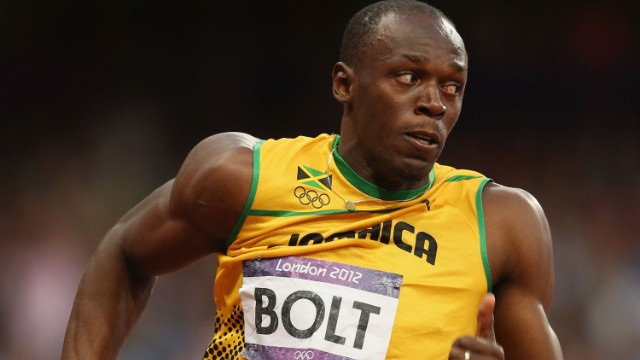 Usain Bolt won three gold medals at the London Olympics; two individually (100m and 200m) and one in a team event (pictured above -- the men's 4 x 100m relay).