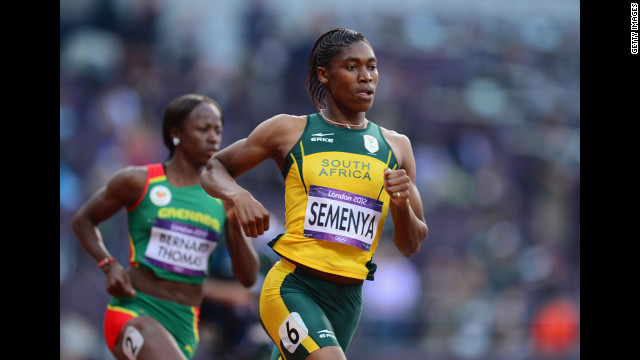 Caster Semenya of South Africa competes in the women's 800-meter semifinals.