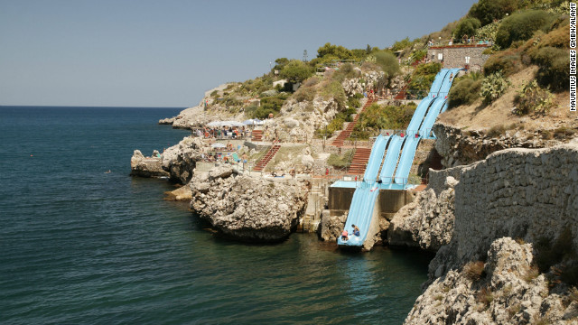 Eleven slides form Sicily's most scenic water attraction, the Toboggan, which runs down a cliff on the northwest coast of the island.
