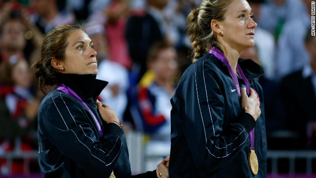 Gold medallists Misty May-Treanor, left, and Kerri Walsh Jennings celebrate winning the Gold medal at the London 2012 Olympic Games on August 8, 2012. 