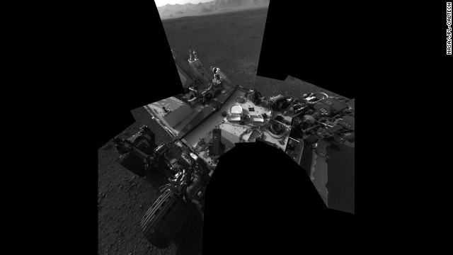 The Curiosity rover at its landing site inside Gale Crater. The image was taken from the rover's navigation cameras.