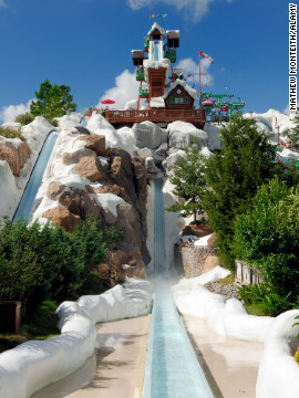 The first thing you see when you enter Blizzard Beach is 90-foot snowcapped Mount Gushmore, the world's most photographed faux-mountain and home to one of the fastest free-fall speed slides, Summit Plummet.