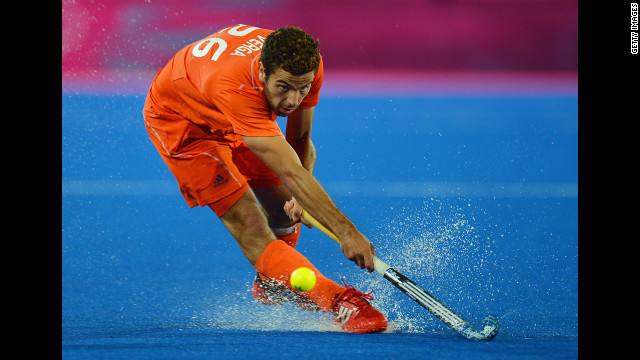 Valentin Verga of the Netherlands competes during the men's field hockey semifinal match with Great Britain.