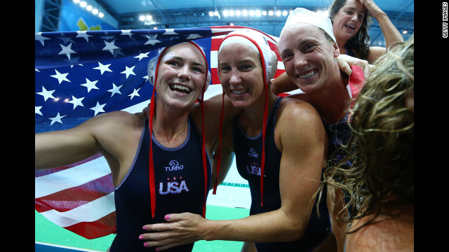 United States players celebrate winning the women's water polo gold medal match against Spain on Thursday, August 9, Day 13 of the London Olympics.