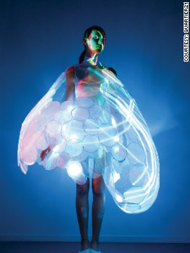 The Bubelle dress, designed for electronics firm Philips, conveys the emotional state of the person wearing the garment through miniature projectors located between the layers of the dress. A series of sensors collect data such as heart rate and respiration, which is visualized by altering the intensity, shape and colors of light generated by the projectors.