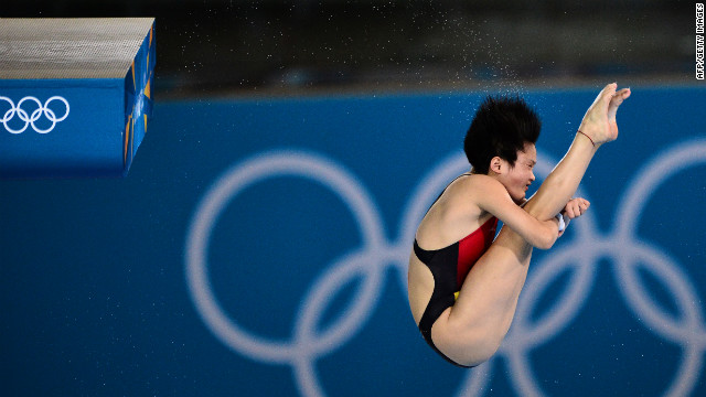 China's Chen Ruolin competes in the women's 10-meter platform semifinals during the diving event.