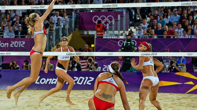 The women's beach volleyball final was contested by two teams both representing Team USA, with Misty May-Treanor and Kerri Walsh Jennings winning a third consecutive Olympic gold medal against compatriots April Ross and Jennifer Kessy.