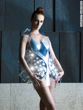 The &quot;Paparazzi Lover&quot; dress incorporates 62 LED lights that illuminate when it detects photographers' flash bulbs. 