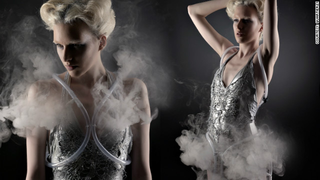 This dress incorporates a battery-operated fog generator that emits smoke when another person comes too close to the wearer, according to its creators, Anouk Wipprecht and Aduen Darriba.