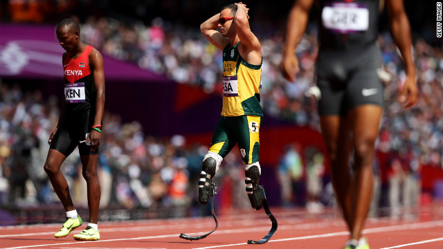 Oscar Pistorius reacts after his South African team failed to finish the relay when a teammate crashed into another runner. After an appeal, the South African team will be allowed to race in the final.