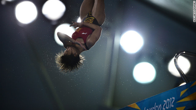 China's Hu Yadan competes in the women's 10-meter platform semifinals.