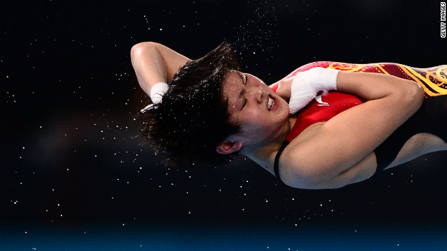 China's Chen Ruolin competes in the women's 10-meter platform semifinals diving event.