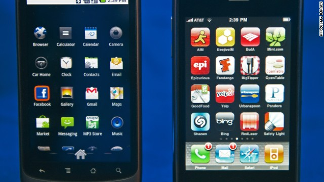 A Google Nexus One smartphone, left, beside Apple's iPhone. 