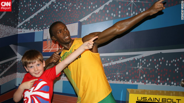 "Matthew Turner's son, Miles, is a huge Usain Bolt fan. So when the Crewe, UK family visited London for Miles' first trip, they visited Madame Tussaud's, and Miles immediately ran to pose with his idol. ""He loves doing the pose when he's done something good, I think he sees it as a symbol of triumph and achievement,"" said Matthew<!-- -->.</br>"