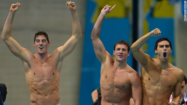 Ricky Berens' olympic moment was getting his gold with U.S. swimmers Ryan Lochte, Conor Dwyer and Michael Phelps for the 4 x 200-meter freestyle relay. Here Lochte, Dwyer and Berens react to their win.
