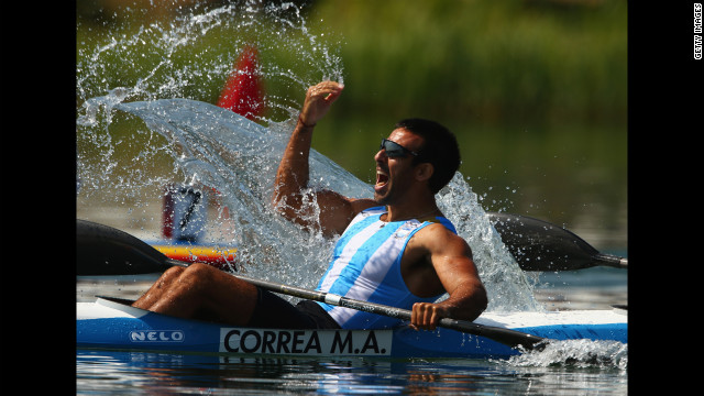 Argentina's Miguel Antonio Correa reacts during the men's kayak double 200-meter canoe sprint semifinals.