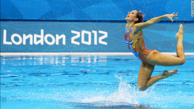 Australia competes in the women's team synchronized swimming free routine final.