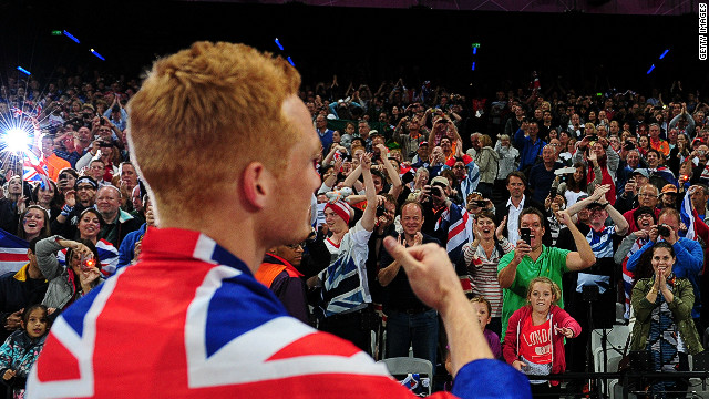 British fans react ecstatically to Greg Rutherford's long jump gold. The home crowd has been vocal in its support for Team GB.