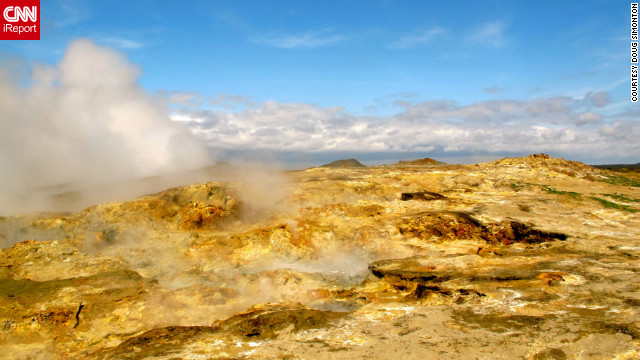 "Doug Simonton has captured various photographs of Iceland's unique landscape over the past two years. ""It's hard not to see the ground boiling up steam and not think you're on another planet,"" he says."